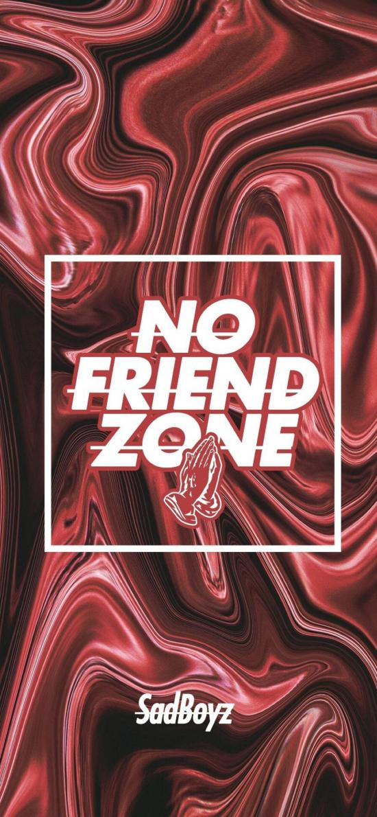 潮流 NO FRIEND ZONE 红色 纹路
