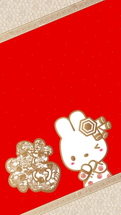 新年 福到 兔子 红色 喜庆