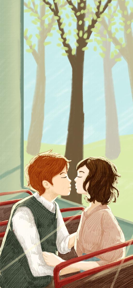 插画 情侣 亲吻  创意