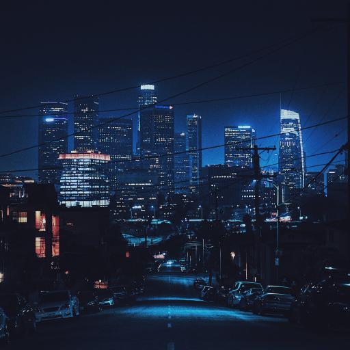 城市夜景 黑夜 建筑 道路