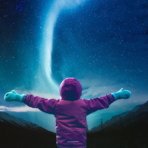 星空 背影 小孩 极光 唯美