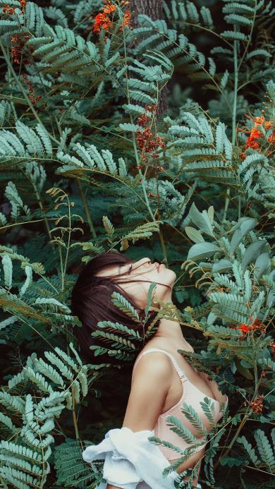 花丛 绿色 短发 女孩 性感