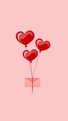 爱心 气球 信封 粉色 爱情 浪漫