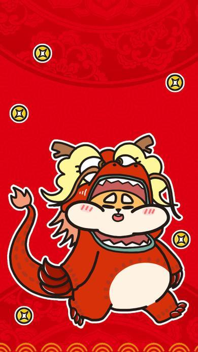 狗年 红色 新年 春节 金元宝 发财 舞狮