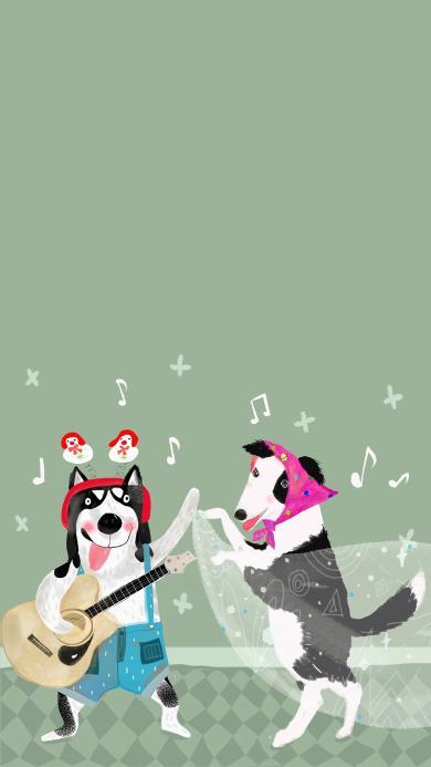 吉他 贝斯 狗狗 可爱
