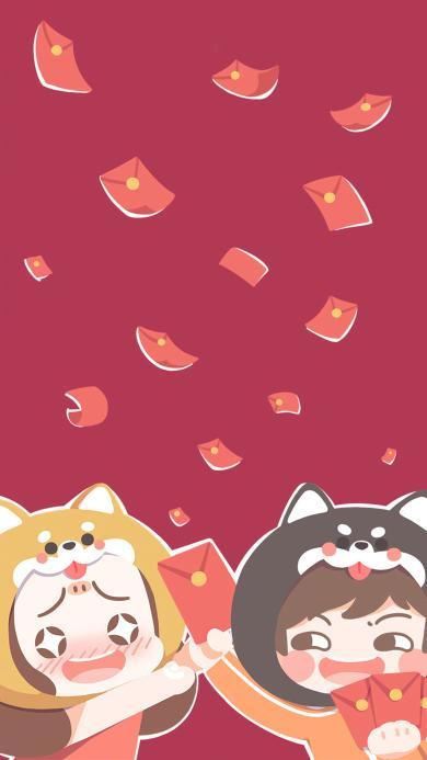 红包 卡通 红色 新年 春节