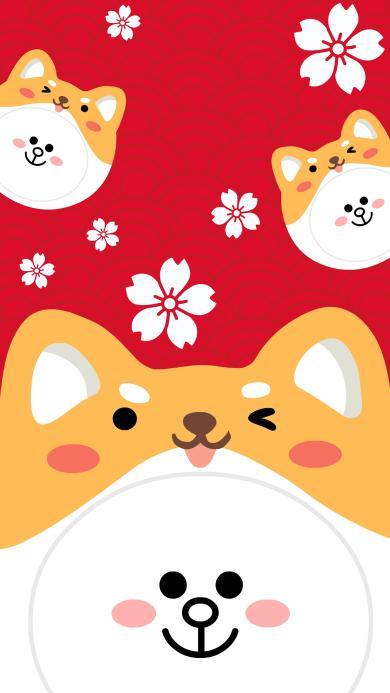 柴犬 新年 红色 可爱