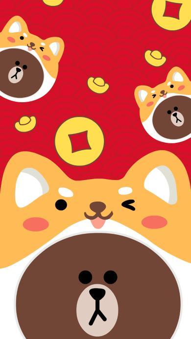 布朗熊 铜钱 红色 新年 春节
