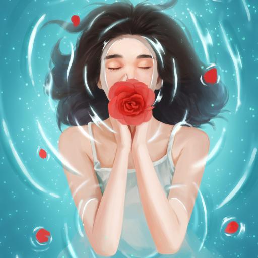 创意 玫瑰 鲜花 插画 唯美 泡浴