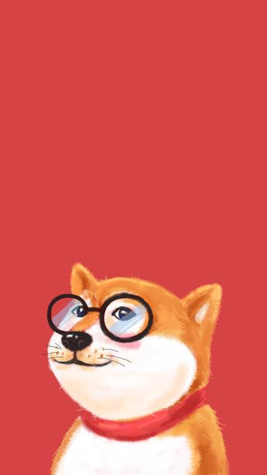 柴犬 狗 可爱 眼镜
