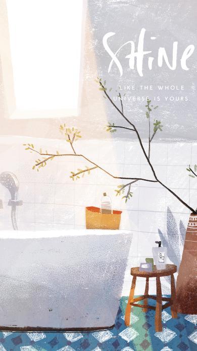 浴室插画 浴缸 盆栽