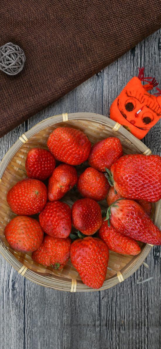 草莓 水果 营养 编织篮