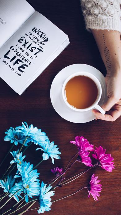 咖啡 鲜花 书本 静物
