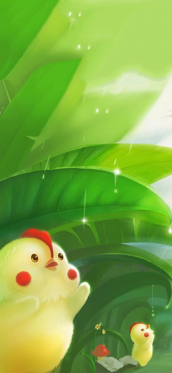 手绘小鸡 腮红 可爱 绿叶