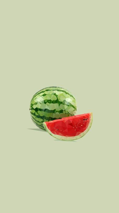 西瓜 水果 绿色 几何 设计
