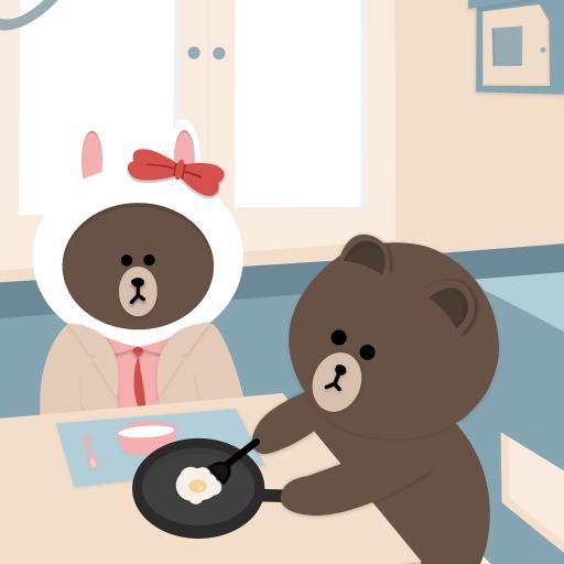 布朗熊 卡通 可爱 line friends 煎蛋