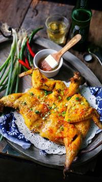 烧鸡 肉 家禽 食物 葱