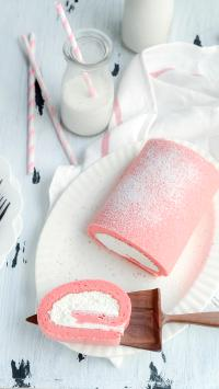 蛋糕卷 牛奶 点心 下午茶 甜品 奶油