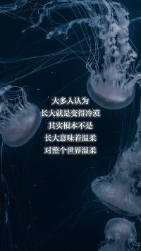 长大就是变得冷漠 意味着温柔 对整个世界温柔 水母