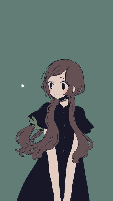 长发女孩 插画 黑裙 绿色