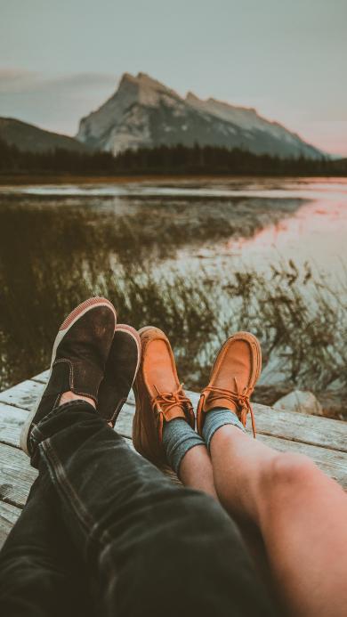 情侣 腿 爱情 木栈桥 旅行
