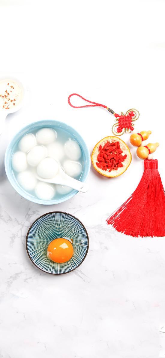 元宵 汤圆 鸡蛋 中国结