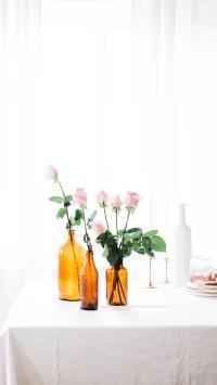 花瓶 鲜花 粉玫瑰 浪漫