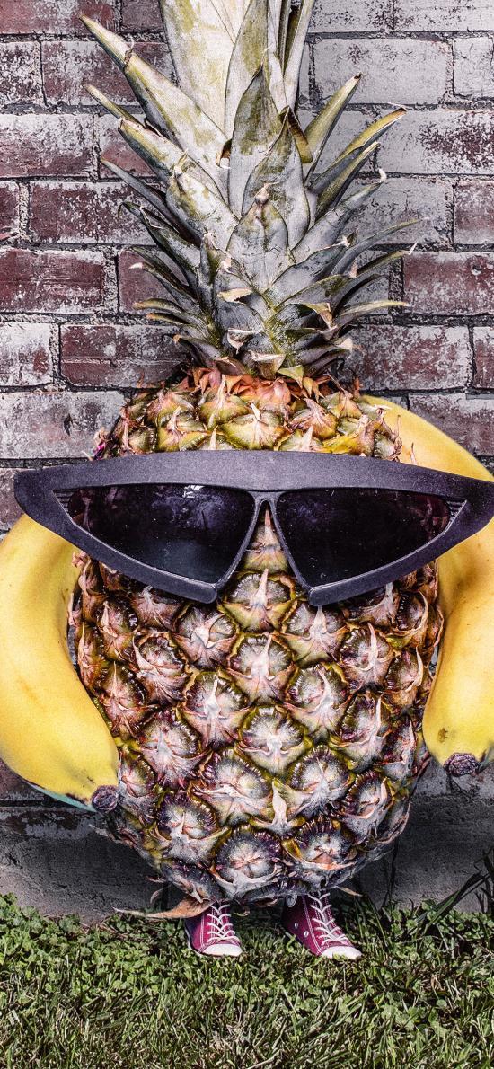 菠萝 香蕉 水果 创意 结合