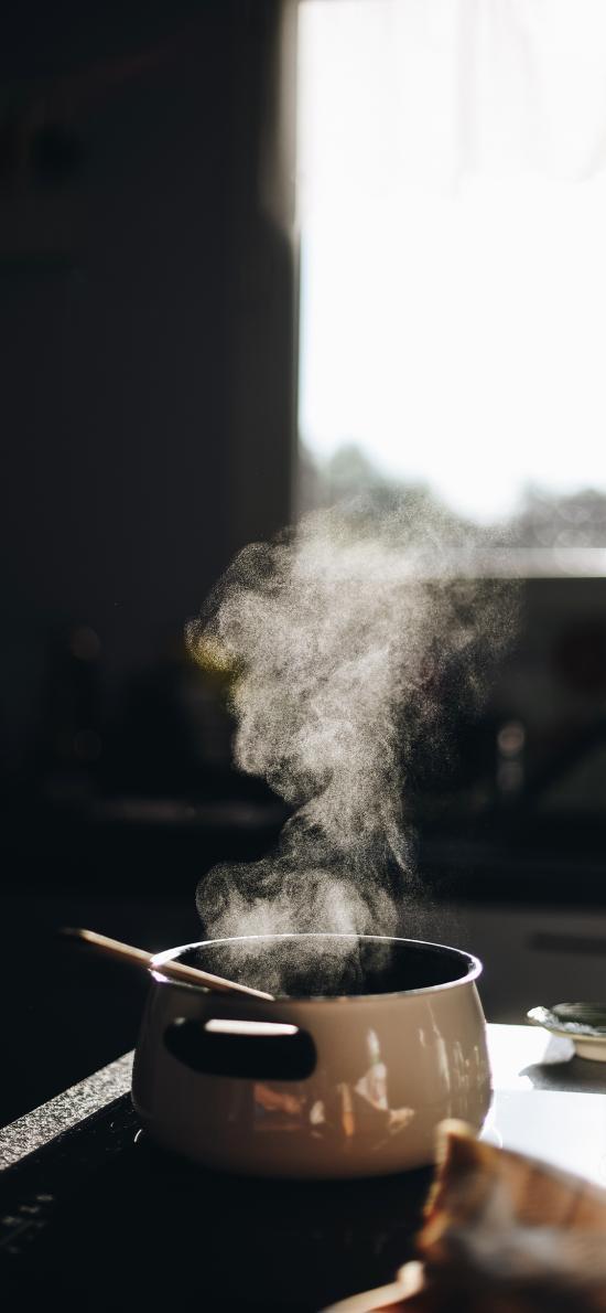 容器 汤锅 料理 烟雾