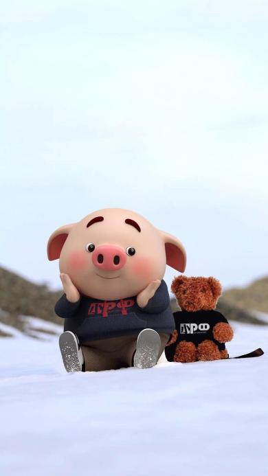 猪小屁 雪地 可爱 动画 小熊娃娃