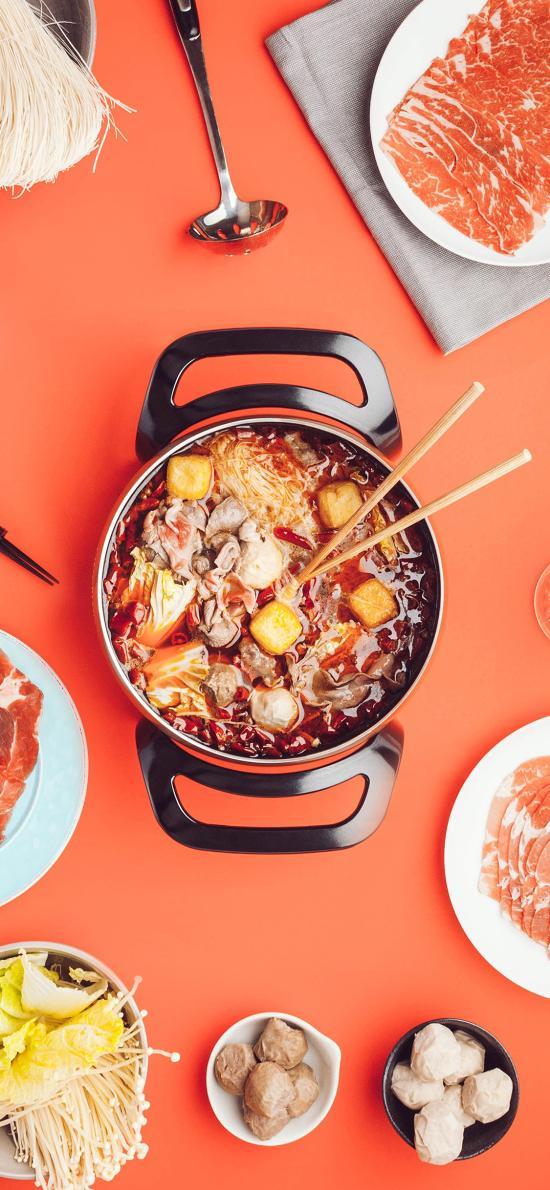 火锅 食材 肉 蔬菜 食物 面