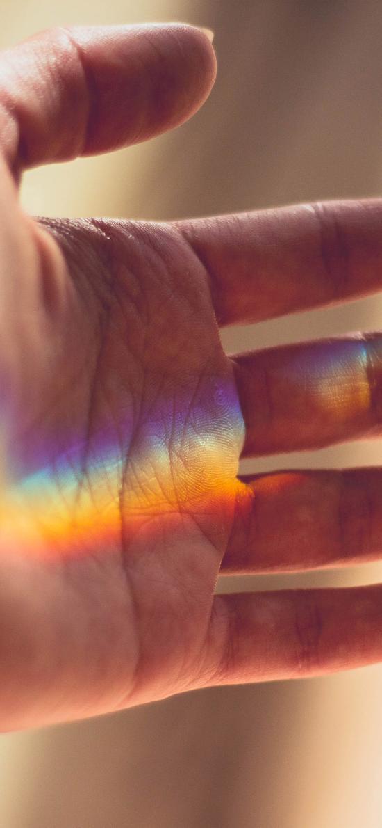 光 彩虹 手 触摸 色彩