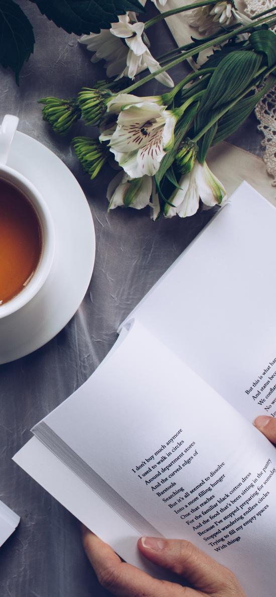 書籍 手部 咖啡 鮮花 閱讀 瀏覽