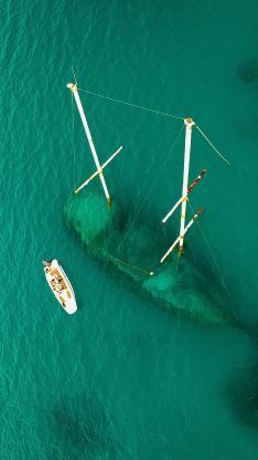 沉船 船只 海底 海水 清澈
