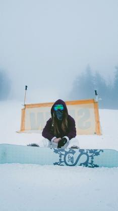 滑雪 滑板 雪山 女孩 运动