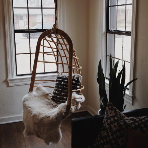 房间 吊椅 皮草 抱枕