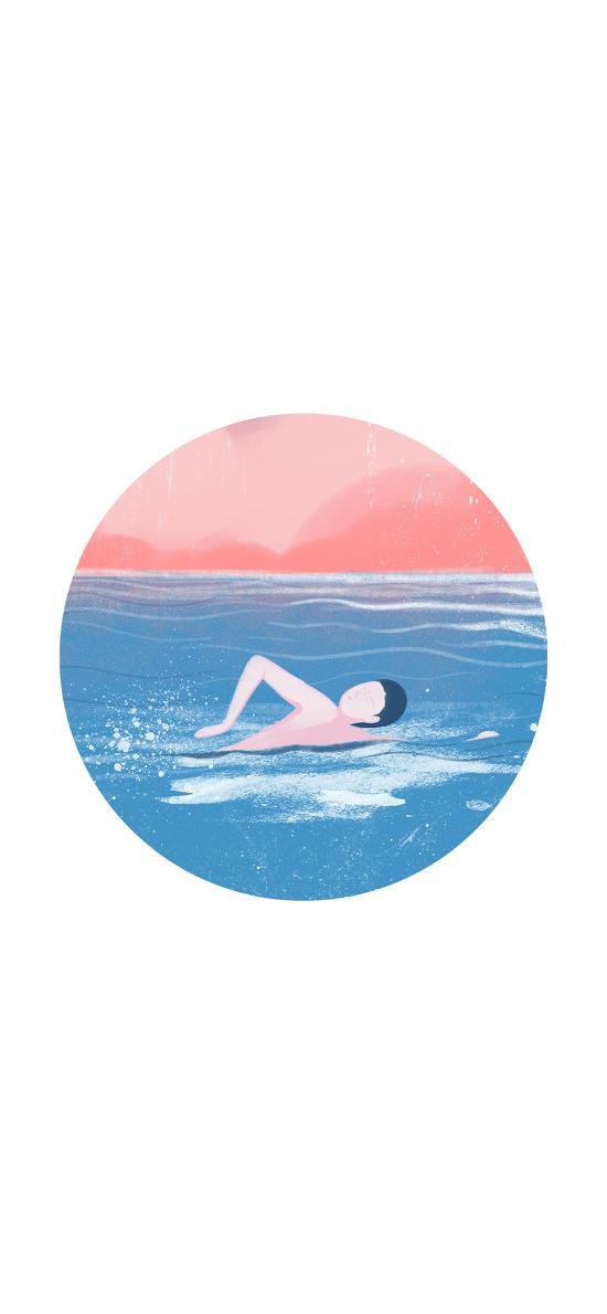 游泳 男孩 大海 夏日