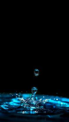 水滴 特写 涟漪 蓝色