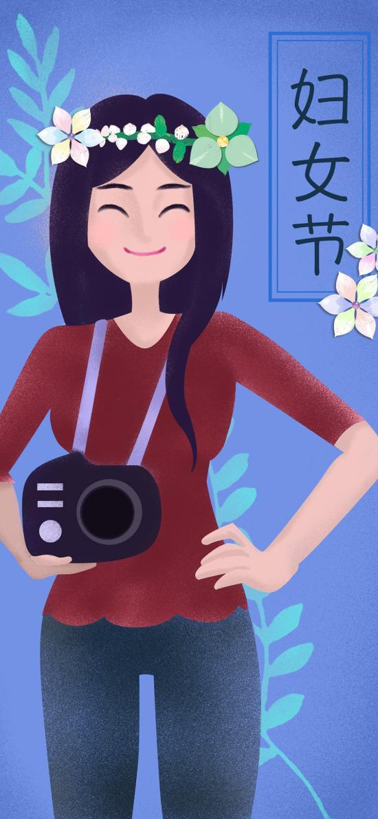 妇女节 插画 女性 花环 枝叶 蓝色