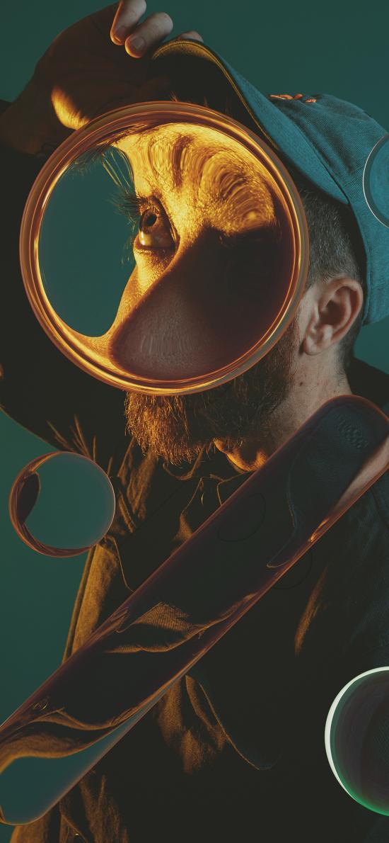 人物 摄影 几何 变形 透明 放大