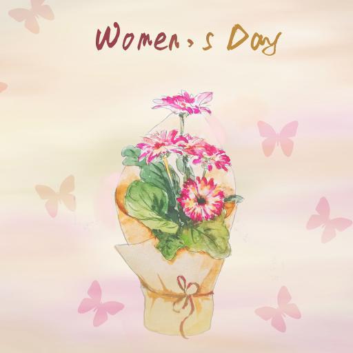 women day 妇女节 插画 花束
