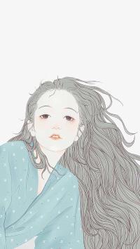 女孩 绘画 长发 插画