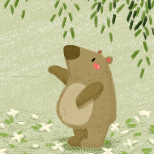 创意 小熊 柳叶 治愈系