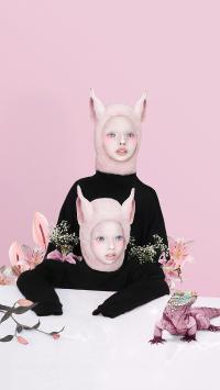 双头 创意摄影 粉色 帽子 耳朵 诡异风