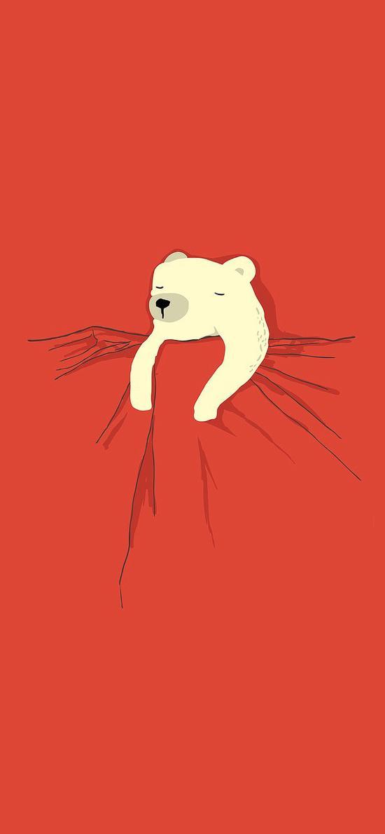 熊 红色被子 睡觉