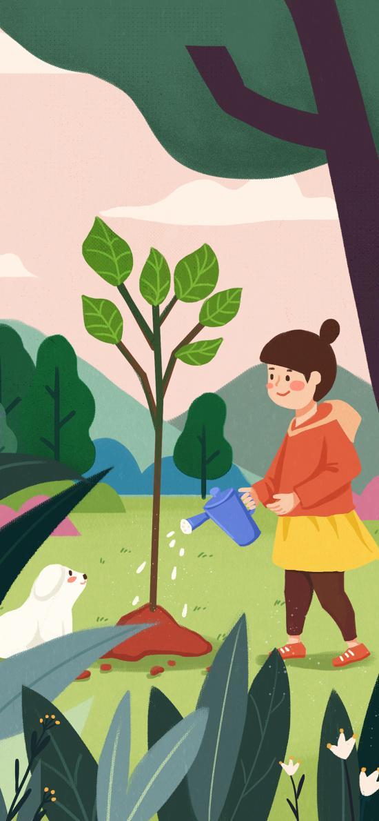 植树节 种植 浇水 手绘