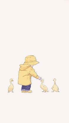可爱 孩童 鸭子 黄 背影