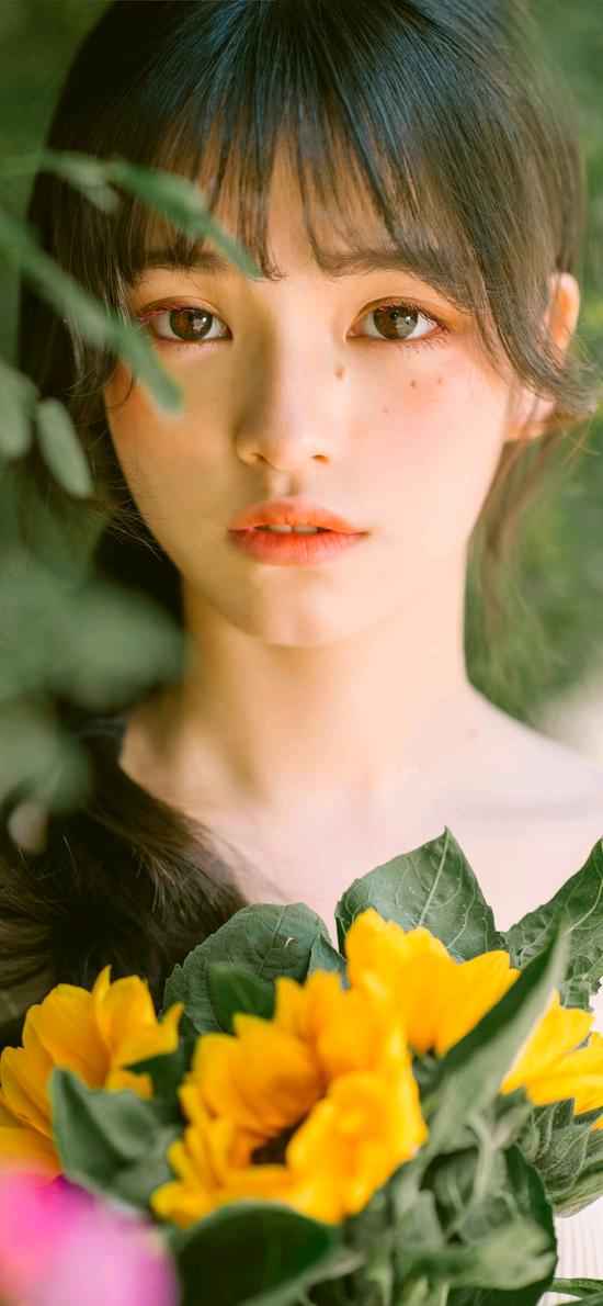 女孩写真 艺术 鲜花 甜美