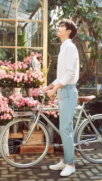 宋威龙 演员 明星 艺人 单车 鲜花