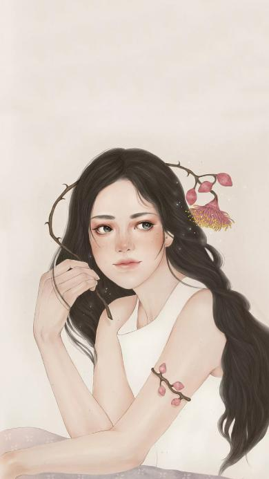 手绘女孩 欧美 长发 鲜花